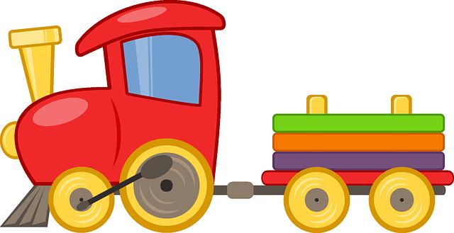 Motiv barevné lokomotivy s vagónkem